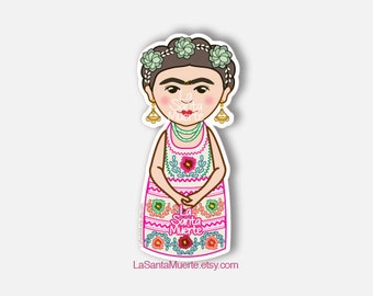 Frida Kahlo sticker, embroidered mexican dress waterproof sticker