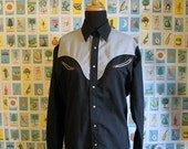 """Unisex Black and Grey Western Shirt  by Silver West - Size US 8  - 40"""" chest"""