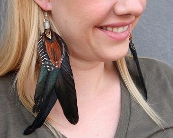 Long Earrings, Lightweight Rooster Feathers