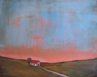 """Barn at Dusk - Original abstract landscape painting - Acrylic Painting - rustic -  farmhouse - unframed unstretched linen canvas 10""""x12"""""""