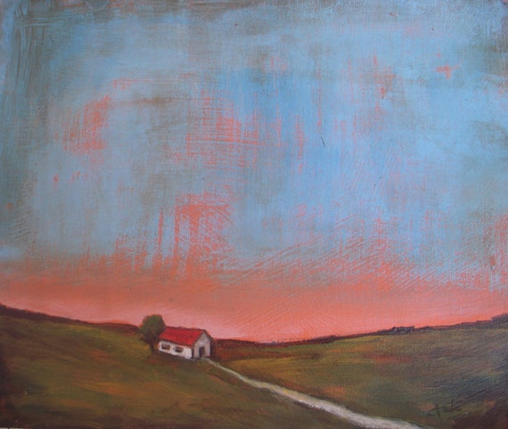 Farmhouse At Dusk: Barn At Dusk Original Abstract Landscape Painting Acrylic