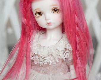Hot Pink Mohair Straight Wig for Volks BJD SD Rosenlied Holiday Dolls (Elastic Size)