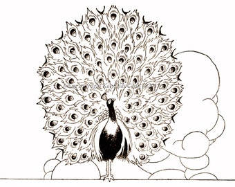 Peacock Greeting Card - Big Book of Fables - Repro Charles Robinson