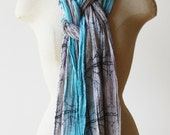 Boho scarf, Turquoise scarf, hand printed cotton scarf, southwest style