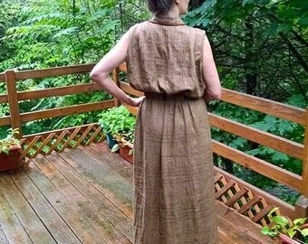 CUSTOM Long Maxi Dress, buttoning down the front and belted, ALL in textured linen