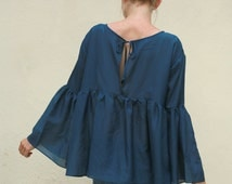 Navy boho silk batiste cotton bell sleeves smock blouse, empire cut blouse, high quality fabric