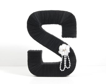 "Black Tulle Wrapped Letter ""S"" - wedding decoration, table centerpiece, photography prop"