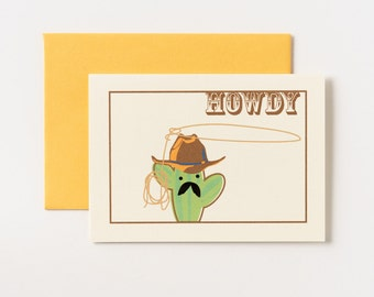 Catcus Cowboy Howdy Greeting Card