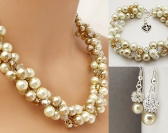 Bridal Jewelry Set Pearl Necklace, Bracelet and Earrings Set, Champagne and Ivory Pearls, Bridesmaid Pearl Jewelry