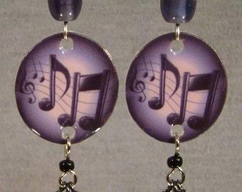 Music Note Dangle Earrings - purple