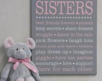 SISTERS Sibling Gifts, Baby Girl Nursery, Twin Girl Nursery Sign, Playroom, Subway Art, Baby Girl Shower Gift, Painted Wall / Room Art Decor