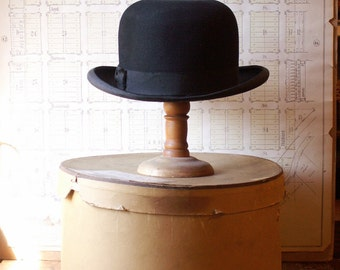 Vintage Men's Black Felt Bowler Hat from Stetson in Original Box