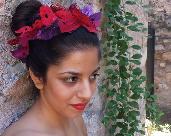 Ethereal femininity - Fabric necklace / hair accessory in shades of purple and red