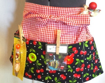 Apron-Mary Engelbreit Cherries fabric, 4 Pocket Apron with Accessories