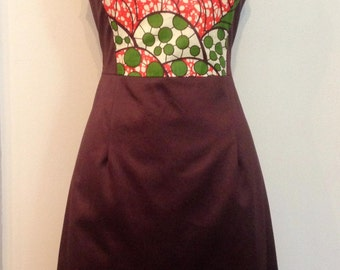 African Print & Cotton Sateen A-line Dress, One of a Kind