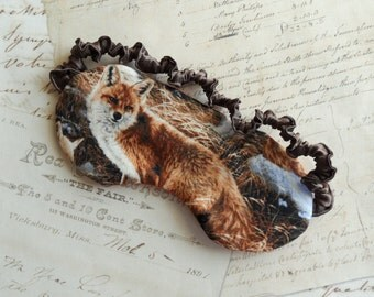 Woodland Fox Sleep Mask in Rust, Brown // Cotton & Satin Eye Mask