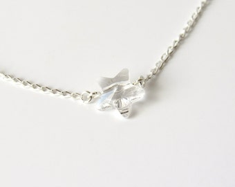 Crystal Star Necklace, Childrens Jewelry, Kids Necklace, Solitare Star, Swarovski Crystal Star, Single Star Necklace, Floating Star Necklace