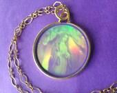 Hologram Necklace, Vintage Pendant, Cherubs, Mother Mary, Angels