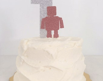 Robot Birthday  or Shower Cake Topper // Cake Topper with Letter or Number