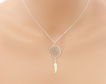 DreamCatcher Necklace, Sterling Silver, Boho Dreamcatcher, Talisman Jewelry, Boho Jewelry, Dreamcatcher Jewelry, Best Friend Gift, BeadXS