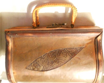 Vintage Wood Purse with Embossed Metal Panels - Made of Tobocco Wood with Wrapped Handles