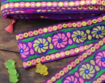 "Floral Festival:  Purple, Pink, Yellow Silk Trim, Ribbon, Sari Border, India 3 3/8""x 1 Yard, Summer Flower Craft, Wedding, Sewing Supplies"