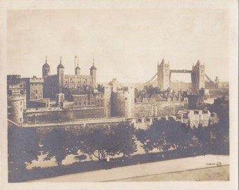 Tower of London- 1920s Antique Photograph- Tower Bridge- London, England- Historical Landmark- Souvenir View- Paper Ephemera