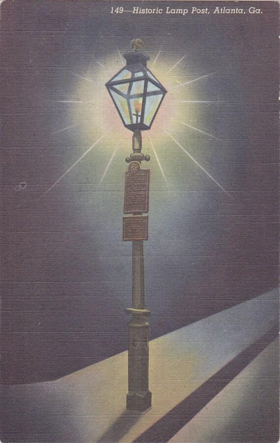 Historic Lamp Post 1940s Vintage Postcard Atlanta Georgia