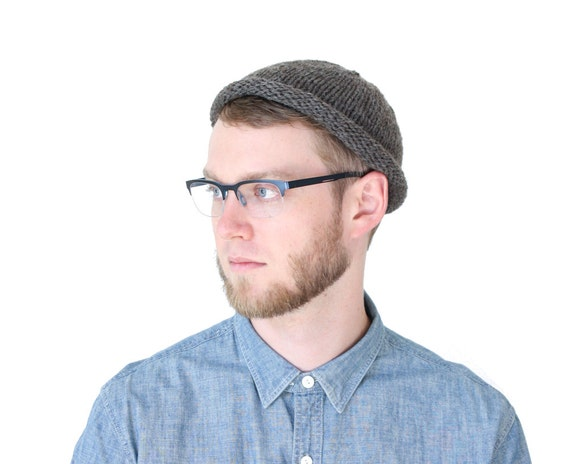 Fisherman Beanie in Slate Gray, hand knit unisex beanie
