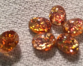 Vintage Fire Opals Cabochons Oval 8x6mm QTY - 6