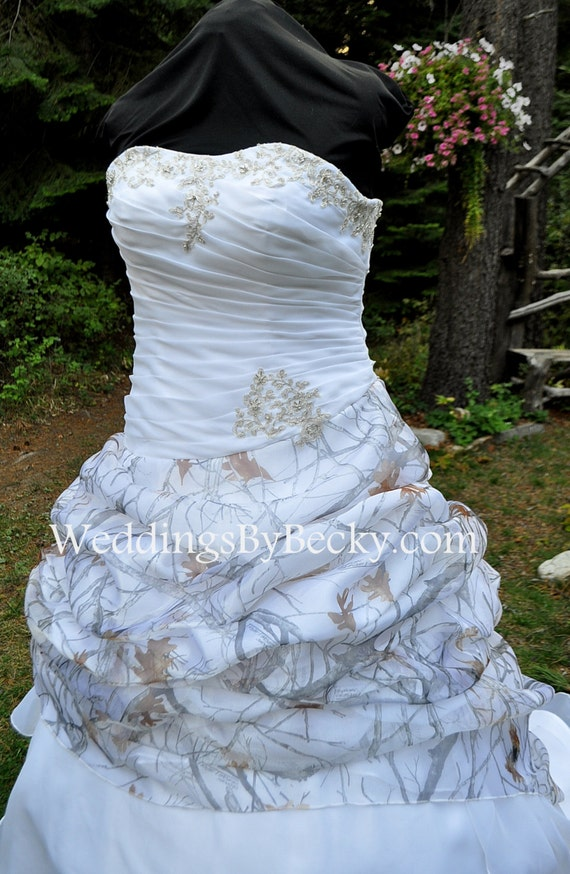 New camo wedding gown truetimber snow camo in organza last for Snow camo wedding dresses