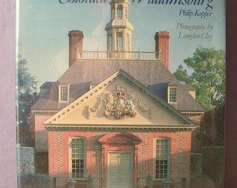 Vintage Colonial Williamsburg book by Philip Kopper, 1986, Large Hardcover, antique photographs, illustrations, Virginia, Architecture book
