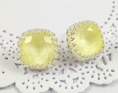 Light Yellow Earrings - Pastel Yellow Silver Stud Earrings - Swarovski Crystal Cushion Cut Pale Yellow Crown Bezel Earrings
