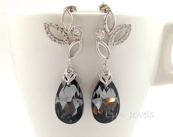 Dark Grey Earrings Swarovski Crystal Silver Night Wedding Bridal Long Earrings