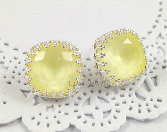 Light Yellow Earrings, Pastel Yellow Silver Stud Earrings, Swarovski Crystal Cushion Cut Pale Yellow Crown Bezel Earrings