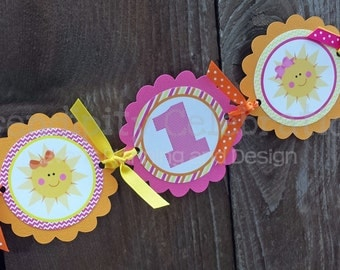 High Chair Banner -You are My Sunshine -Photo Prop -High Chair Bunting -1st Birthday -Small Banner -Sun -Pink Yellow Orange -Sunshine