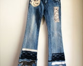 Embellished low rise jeans with lace applique, antique buttons, horse art/ ooak art to wear jeans
