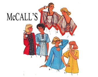 Boho Chic Tops 1970s McCalls 5523 Size Small 10-12 Bust 32 1/2-34 UNCUT Sewing Pattern Cape blouse flowing sleeves Peasant top Poncho blouse