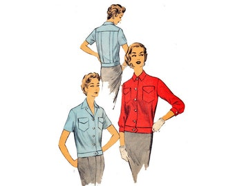 1950s Misses Middy Blouse Jacket Advance 6685 Size 14 Bust 32 Vintage Sewing Pattern Vintage Bowling team blouse Rockabilly Swing