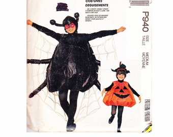 Spider Costume & Pumpkin Size Medium Adults Bust/Chest 36-38 UNCUT Sewing Pattern Halloween Party Costumes Fun McCalls 3352 P940 940