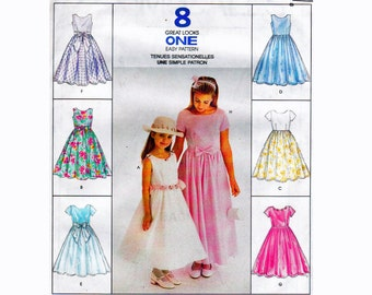 Little Girl's Party Dress Sizes 2 3 4 & 4 5 6 UNCUT McCalls 8675 UNCUT OOP Sewing Pattern Girls Dresses Full Skirt with or without sleeves