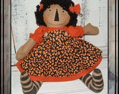 Primitive folk art Halloween raggedy Candy Corn fall rag doll HAFAIR ofg FAAP haguild hand embroidered