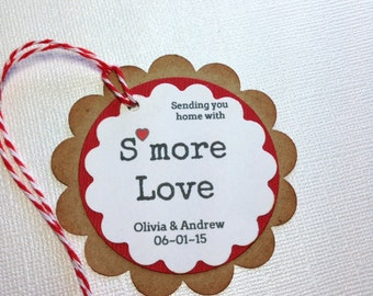 Personalized wedding Smore Love Kraft Hang Gift Tags- Customized Gift Tags- Handmade Baked Goods Favor Tags- Personalzied  treats gift tag