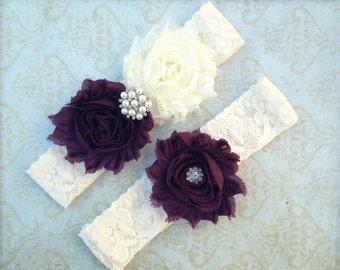 Plum & Ivory Lace Garter Set - Deep Purple Eggplant Garter - Shabby Wedding Garter - Rhinestone Pearl Accents - Plus Size Also