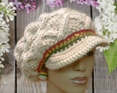 MADE TO ORDER Tan slouch hat Tam with rasta stripes Red Gold Green Hand Knit cable design with brim and free matching earrings