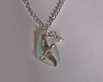 Seagull necklace - Sea glass Jewelry - Beach glass necklace.