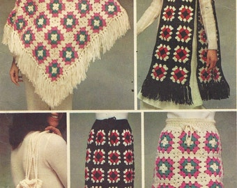 Vintage 70s Crochet Instructions for Poncho, Maxi or Mini Skirt Hat & Scarf and Bag Simplicity Pattern 9695 Size 10 to 18 Bust 32 1/2 to 40
