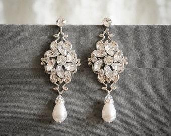 Swarovski Pearl Bridal Earrings, Crystal Cluster Wedding Earrings, Vintage Style Flower Bridal Stud Earrings, Pearl Drop Earrings, JOCELYN