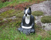 Boston Terrier Buddha Statue, Boston Buddha, Boston Terrier Statues, Concrete Buddha Dog, Cement Dog, Buddha Statue, Dog Meditating, Statues