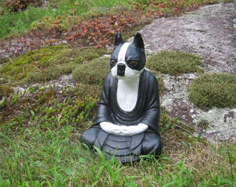 Boston Terrier Buddha Statue, Boston Buddha, Boston Terrier Statues, Concrete Buddha Dog, Cement Dog, Buddha Statue, Dog Meditating, Statues